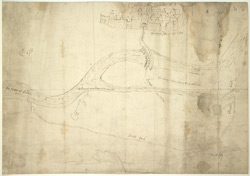 A Chart Showing the Course of the River Eden near Carlisle and of a Breach Neccessary to be Repaired, a platt of certen grounde about Carleile, for demonstration of a breech of the river of Eaden, Jan. 1572